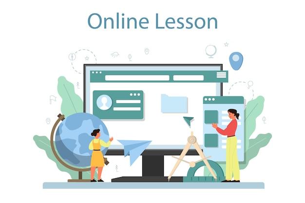 Servizio o piattaforma online di classe di geografia. studiare le terre, i tratti, gli abitanti della terra. lezione in linea.