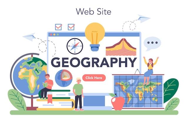 Servizio o piattaforma online di classe di geografia. studiare le terre, i tratti, gli abitanti della terra. sito web. illustrazione vettoriale isolato