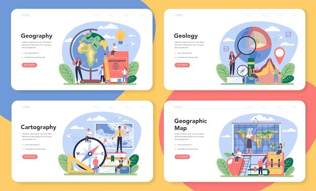 Banner web di classe di geografia o set di pagine di destinazione