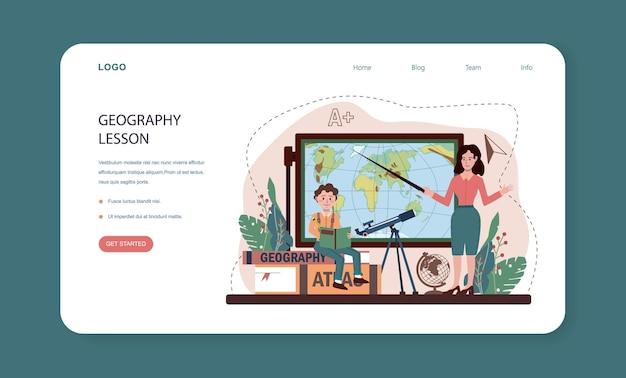 Banner web o pagina di destinazione della classe di geografia. studenti che imparano le terre