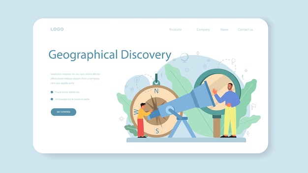 Banner web o pagina di destinazione della classe di geografia