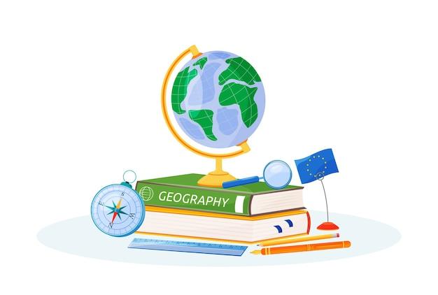 Illustrazione di concetto piatto geografia. materia scolastica. metafora di apprendimento delle scienze naturali. studio della terra. libro di testo per studenti, globo del mondo e oggetti bussola oggetti dei cartoni animati 2d