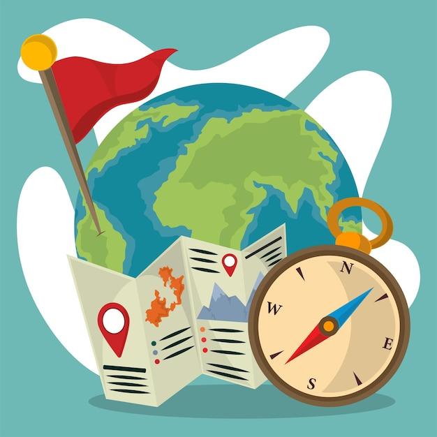 Mappa e bussola del globo geografico