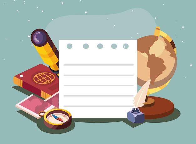 Carta per appunti di geografia con set di icone