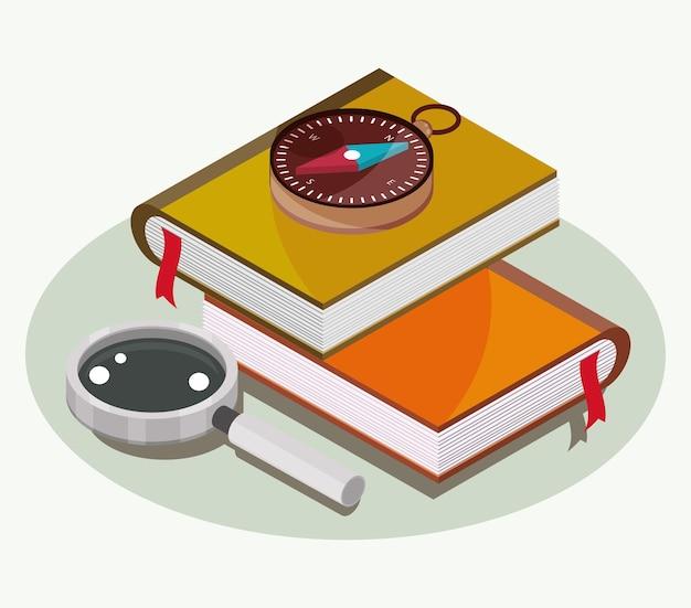 Libri di geografia e bussola