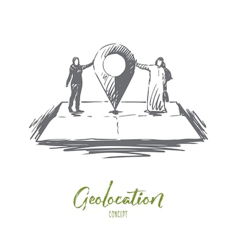 Illustrazione di geolocalizzazione disegnata a mano