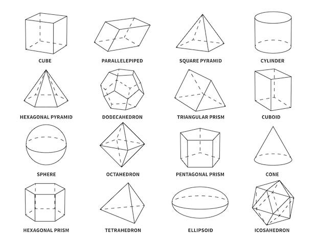 Forme geometriche della linea 3d. la geometria forme lineari triangolo, tetraedro e cono, sfera e piramide, oggetti esagonali e prismatici set di educazione vettoriale
