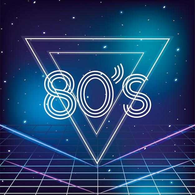 Geometrico stile retrò anni '80 con sfondo di stelle galassia