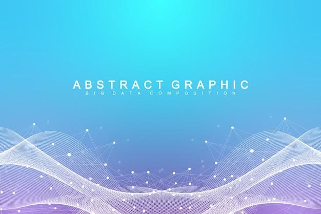 Sfondo astratto geometrico con linea collegata e punti. sfondo di rete e connessione per la tua presentazione. sfondo grafico poligonale. illustrazione scientifica di vettore.