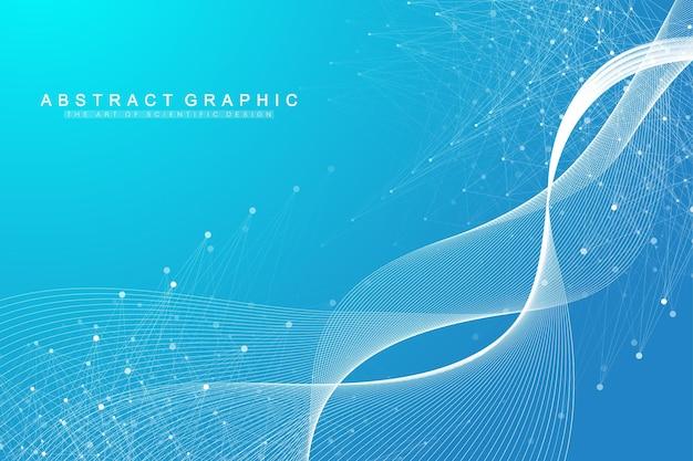 Sfondo astratto geometrico con linea collegata e punti. sfondo di rete e connessione per la tua presentazione. sfondo grafico poligonale. flusso dell'onda. illustrazione scientifica di vettore.