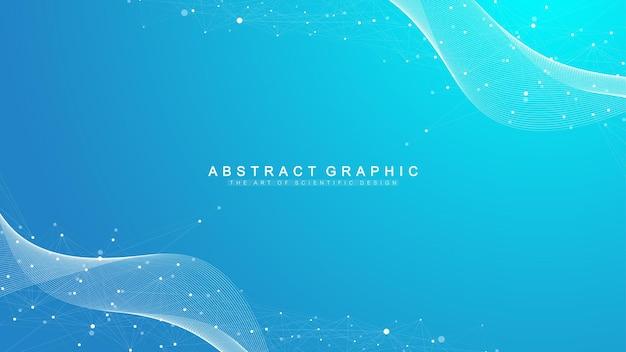 Sfondo astratto geometrico con linee e punti collegati. punto di flusso della connettività. molecola e background di comunicazione. sfondo di connessione grafica per il tuo design. illustrazione vettoriale.