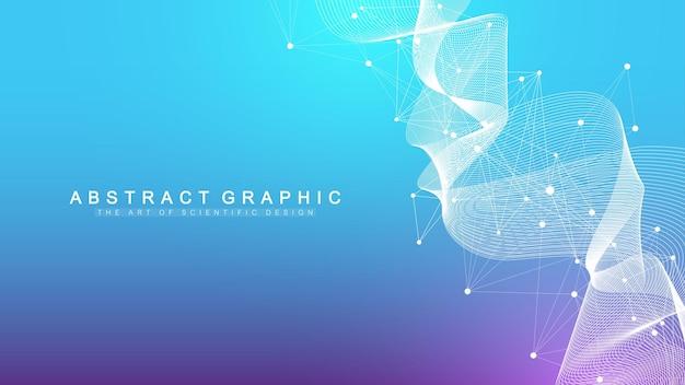Sfondo astratto geometrico con linee e punti collegati. flusso dell'onda. molecola e background di comunicazione.