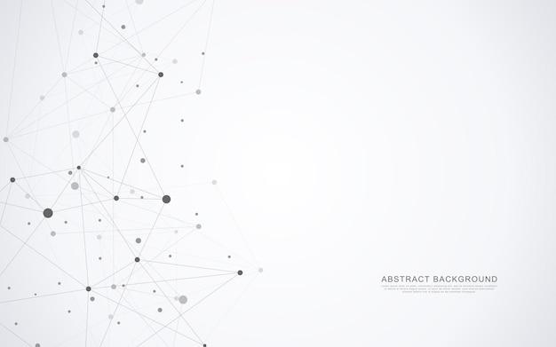 Sfondo astratto geometrico con punti e linee di collegamento