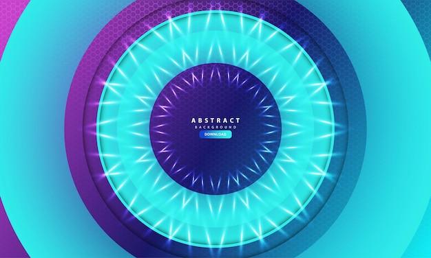 Sfondo geometrico esagono astratto con cerchio blu