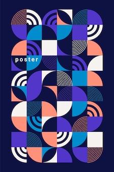 Poster astratto geometrico. cerchi colorati, quadrati e altre forme. stile piatto alla moda.