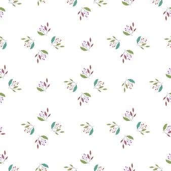 Modello senza cuciture di stile astratto geometrico con ornamento di rami di bacche di doodle