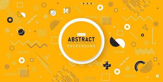 Sfondo geometrico design memphis retro line art line elements for web vintage advertisement commercial banner poster in concept art Vettore Premium