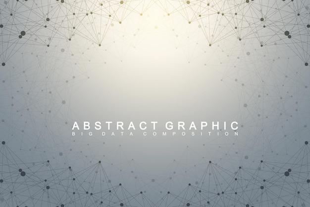 Molecola di sfondo geometrico e comunicazione. complesso di big data con composti. plesso di linee, matrice minima. visualizzazione dei dati digitali.