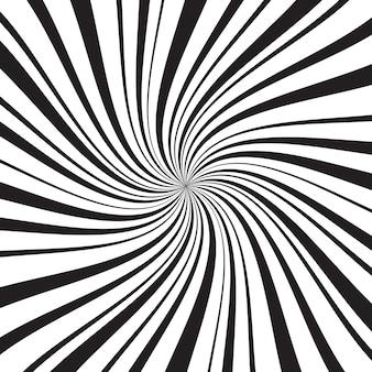 Sfondo geometrico con raggi, linee o strisce radiali sottili e spesse che turbinano intorno al centro
