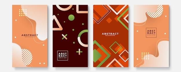 Sfondi geometrici impostati con moderni modelli astratti sfumati di colore. raccolta di modelli fluidi per brochure, poster, striscioni, volantini e cartoline. illustrazione vettoriale.