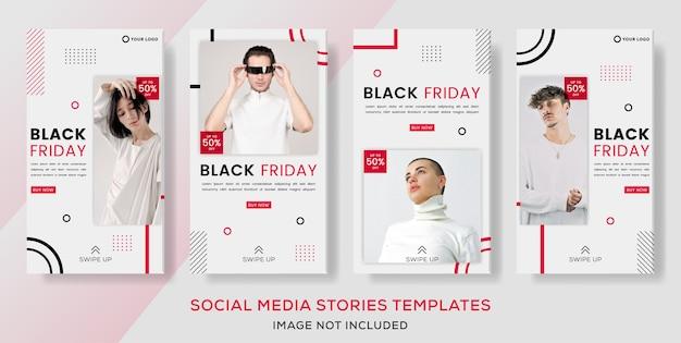 Modelli di banner geometrici per post di storie di vendita di moda venerdì nero.