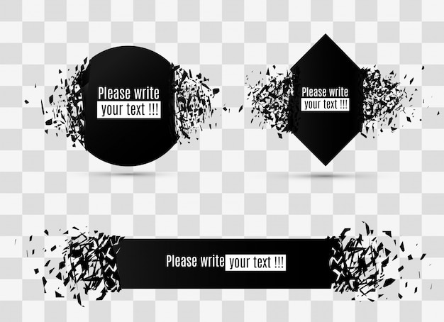 Banner geometrici. esplosione di vetro nero astratta. forme di compressione e distruzione circolare. l'effetto delle particelle.