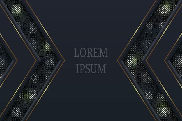 Sfondo di lusso nero geometrico con elementi in oro, concetto di carta tagliata