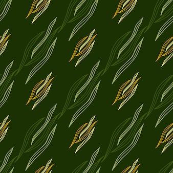 La linea botanica geometrica modella il modello senza cuciture su fondo verde. carta da parati della natura.