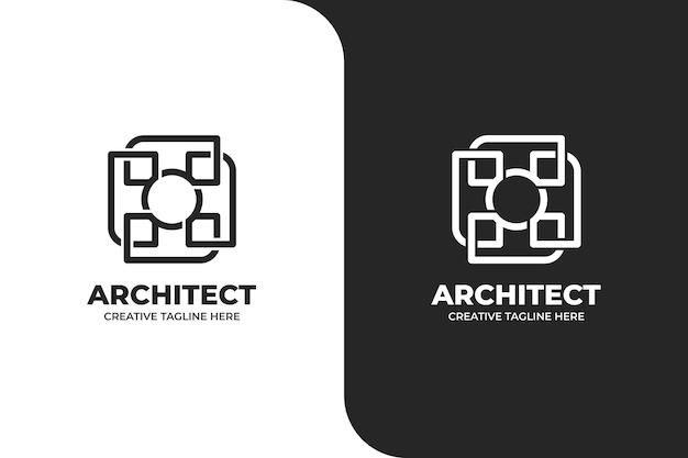 Logo semplice di architettura geometrica dell'edificio