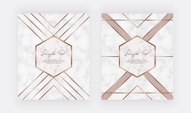Disegno geometrico della copertina con linee dorate a forma triangolare sulla trama di marmo.