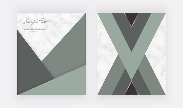 Design geometrico della copertina con forme triangolari verdi e linee dorate sulla trama in marmo.