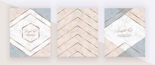 Design geometrico della copertina con forme triangolari rosa, blu e linee dorate sulla trama in marmo.