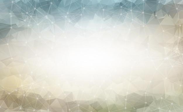 Molecola e comunicazione geometrica del fondo poligonale grigio scuro. linee collegate con punti. sfondo di minimalismo.