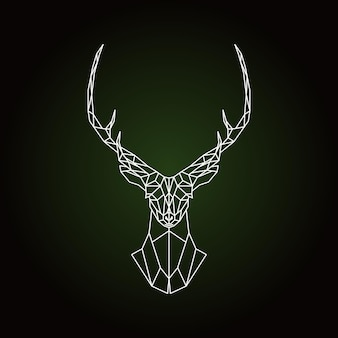 Testa di cervo geometrica su sfondo verde scuro