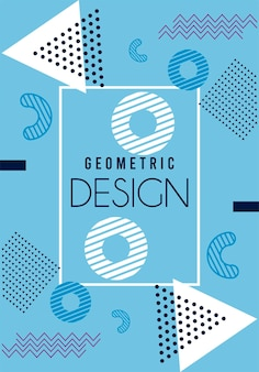 Lettering disegno geometrico in sfondo blu e bianco di memphis
