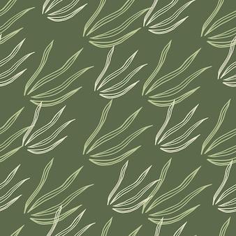 Reticolo senza giunte delle erbe di doodle geometrico. carta da parati botanica della natura.