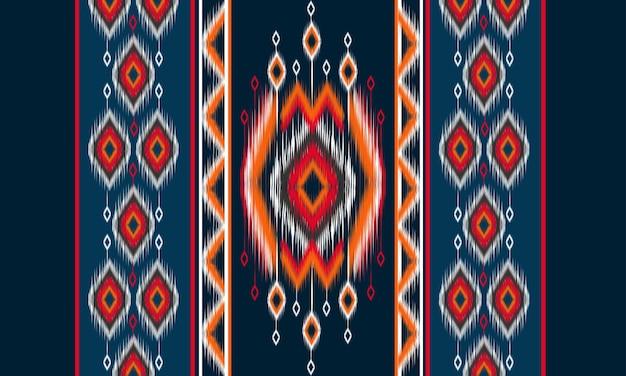 Motivo geometrico etnico orientale ikat design tradizionale per sfondo, moquette, carta da parati, abbigliamento, avvolgimento, batik, tessuto, illustrazione vettoriale. stile ricamo.