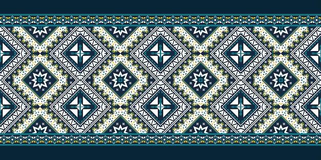 Modello etnico geometrico senza soluzione di continuità. design per sfondo, moquette, carta da parati, abbigliamento, avvolgimento, batik, tessuto, illustrazione vettoriale. stile ricamo.
