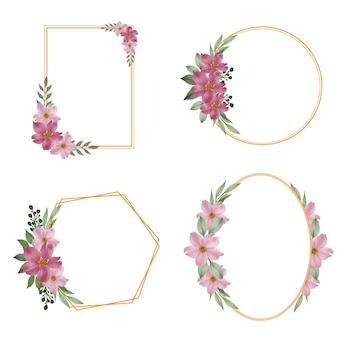 Collezione di cornici geometriche con bouquet di fiori rosa