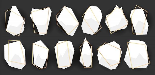 Poliedri di cornici geometriche. set di cornici dorate astratte