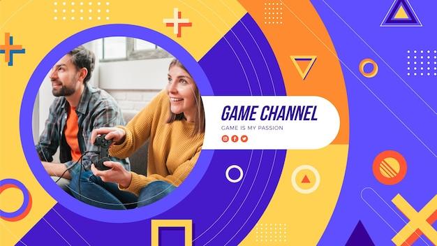 Grafica del canale youtube di gioco geometrico Vettore Premium
