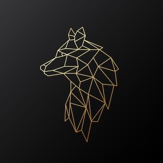 Lupo d'oro geometrico. Vettore Premium