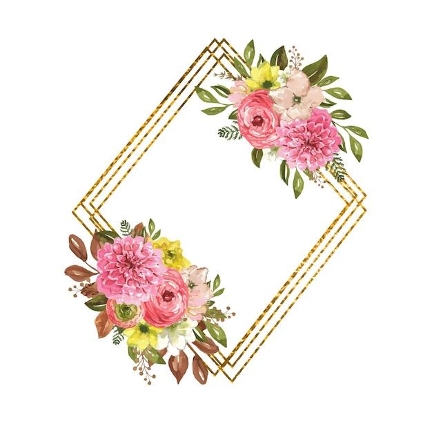 Cornice geometrica dorata con fiori autunnali