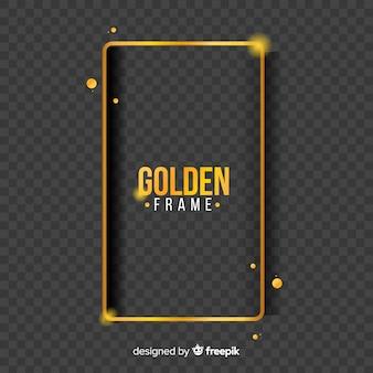 Cornice dorata geometrica con effetti di luce