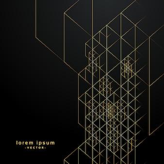 Linee dorate geometriche su sfondo nero