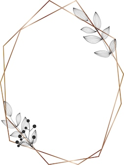 Cornice geometrica a linee dorate con foglie nere