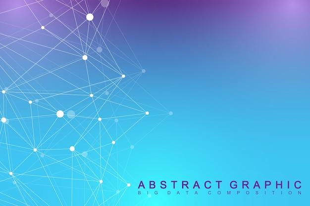 Comunicazione di sfondo grafico geometrico. grande complesso di dati con mappa del mondo politico. composti di particelle. connessione di rete, linee plesso. design caotico minimalista, illustrazione vettoriale.