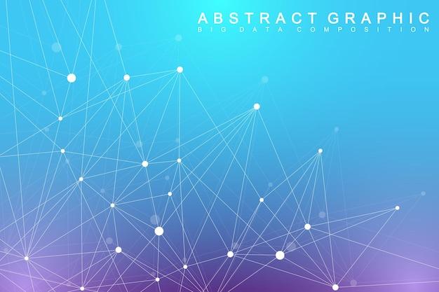 Molecola di sfondo grafico geometrico e comunicazione. complesso di big data con composti. plesso di linee, schiera minima. visualizzazione dei dati digitali. illustrazione scientifica di vettore cibernetico.