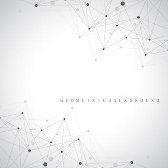 Molecola di sfondo grafico geometrico e comunicazione. complesso di big data con composti. contesto prospettico. matrice minima. visualizzazione dei dati digitali. illustrazione scientifica di vettore cibernetico.