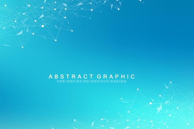 Molecola di sfondo grafico geometrico e comunicazione. complesso di big data con composti